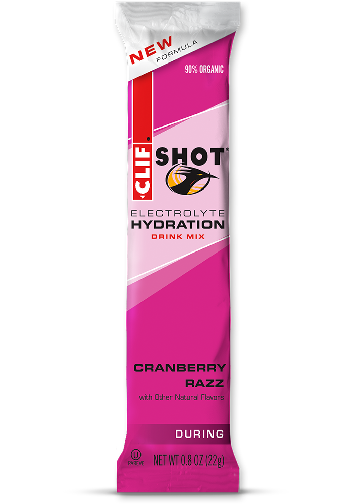 Clif Shot Hydration Cranberry Razz (pose)